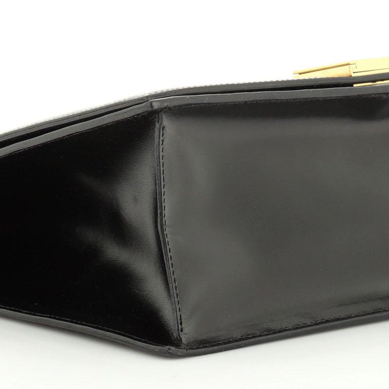 Vintage Top Handle Flap Bag Leather Medium For Sale 3