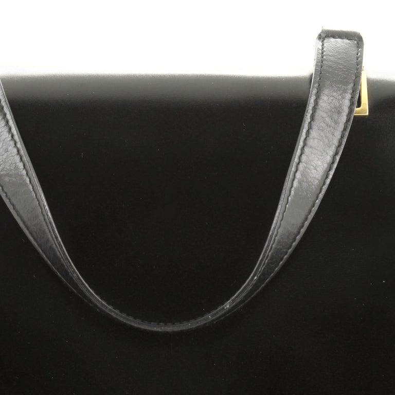 Vintage Top Handle Flap Bag Leather Medium For Sale 4