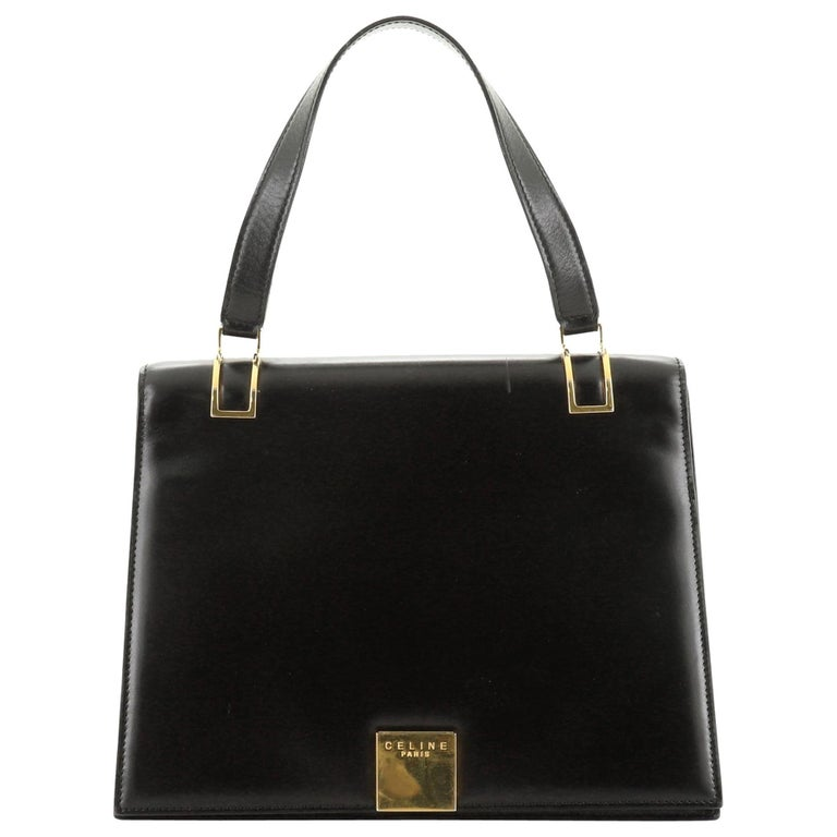Vintage Top Handle Flap Bag Leather Medium For Sale