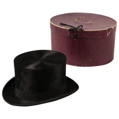 Vintage Top Hat with Hat Box, 1890s-1910s