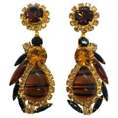 "Vintage Topaz Austrian Crystal and Czech ""Tortoise"" Pendant Drop Earrings"