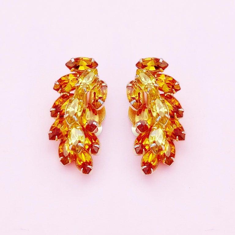 Modern Vintage Topaz & Citrine Crystal Rhinestone Juliana-Style Climber Earrings, 1960s For Sale