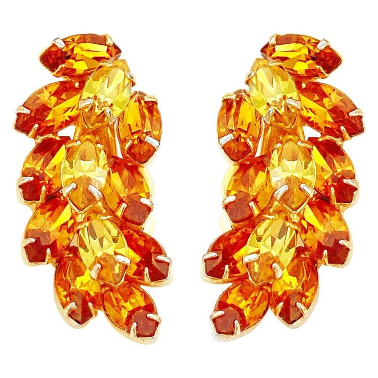 Vintage Topaz & Citrine Crystal Rhinestone Juliana-Style Climber Earrings, 1960s For Sale