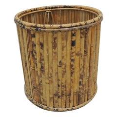 Vintage Tortoise Bamboo Round Wastebasket