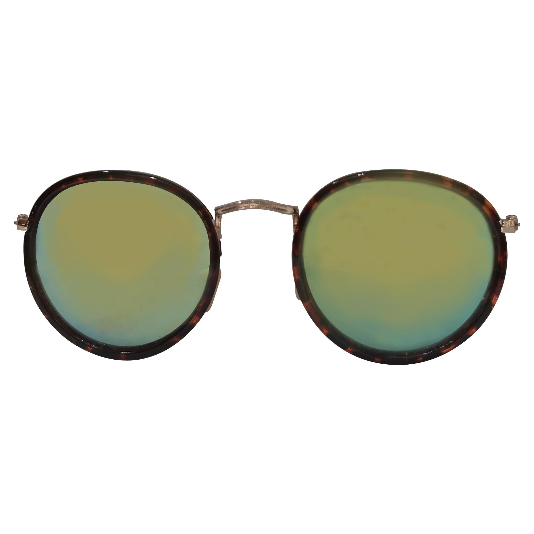 Vintage tortoise green mirrored lens sunglasses