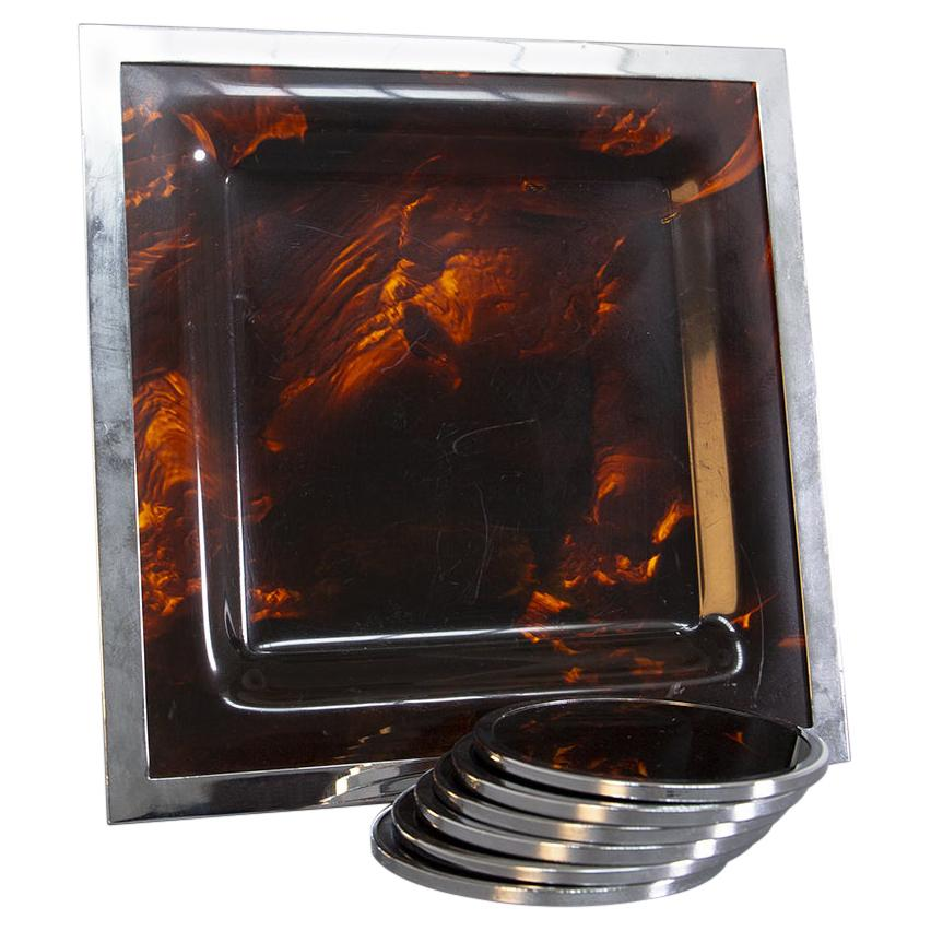 Vintage Tortoiseshell and Lucite and Stell Italian Serving Tray