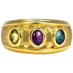 Vintage Tourmaline and 9 Carat Gold Band