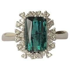Vintage Tourmaline and Diamond 14 Carat White Gold Ring