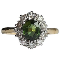 Vintage Tourmaline and Diamond 18 Carat Gold Cluster Ring