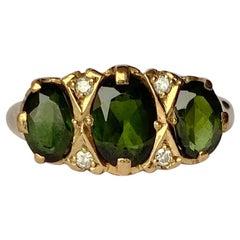 Vintage Tourmaline and Diamond 9 Carat Gold Three-Stone Ring