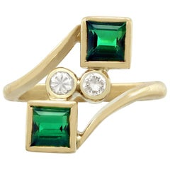 Vintage Tourmaline Diamond Yellow Gold Twist Ring