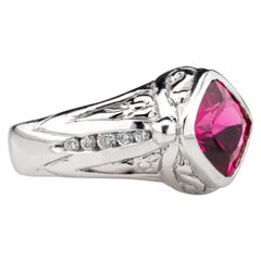 Raspberry Tourmaline Ring with Diamonds in Custom White Gold Setting 1980s