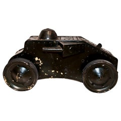 Vintage Toy Car, Military Wind Up Tri-Ang Tiger Tank, Lines Bros Ltd., 1930s