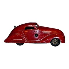 Vintage Toy Car, Wind Up Red Car, Early 20th Century