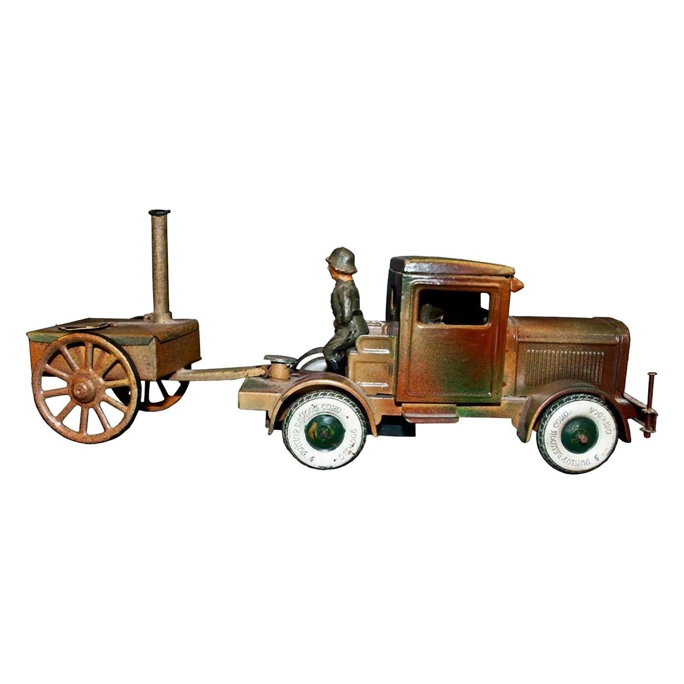 Vintage Toy, Military Toy Truck and Trailer