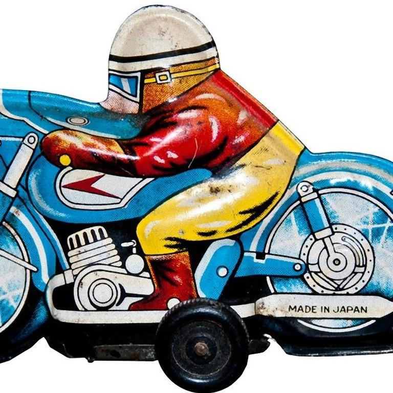 Japanese Vintage Toy, Small Motorcyclist, Made in Japan, 1960s For Sale