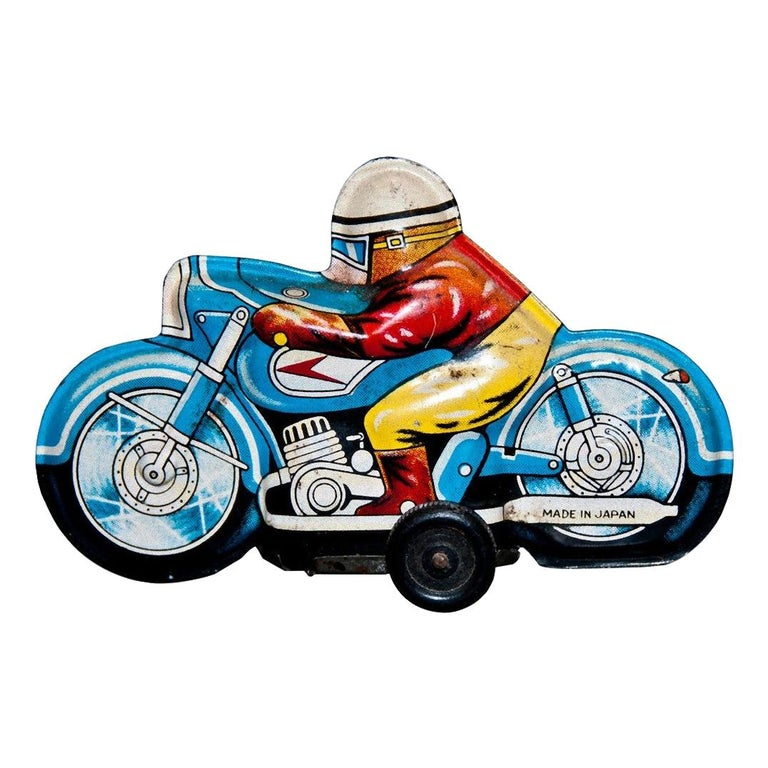 Vintage Toy, Small Motorcyclist, Made in Japan, 1960s For Sale