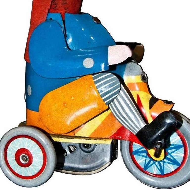 20th Century Vintage Toy, Wind Up Boy on Tricycle, Made in Germany, 1930s For Sale