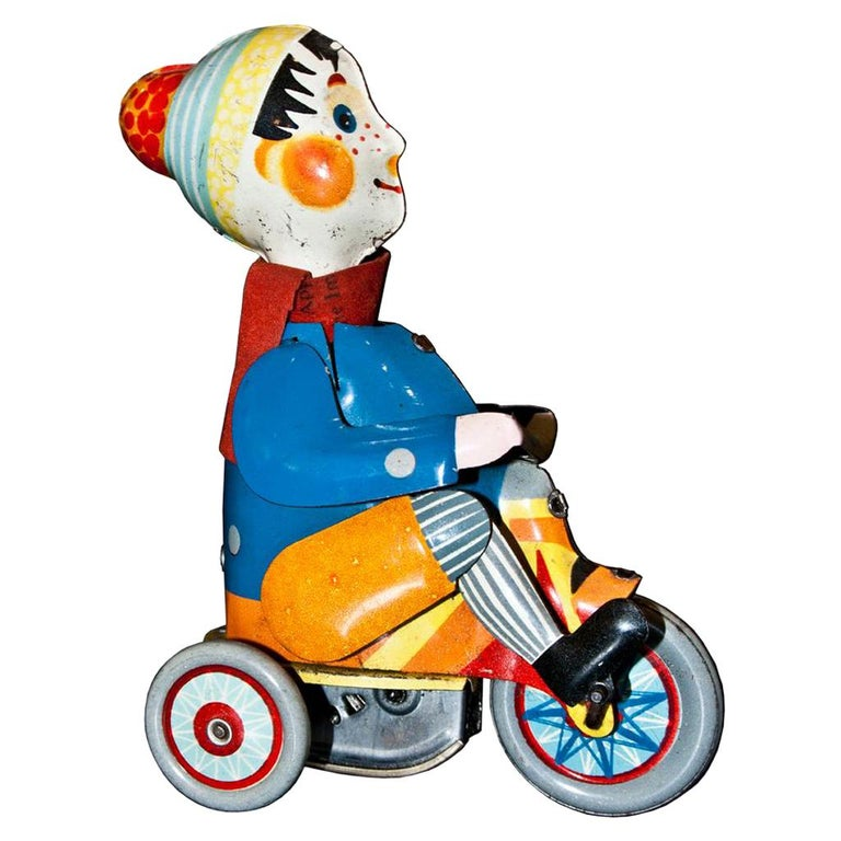 Vintage Toy, Wind Up Boy on Tricycle, Made in Germany, 1930s For Sale