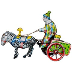 Vintage Toy, Wind up Clown on Cart and Donkey, 1960s