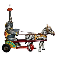 Vintage Toy, Wind up Elephant and Zebra Circus, Made in Germany, 1940s