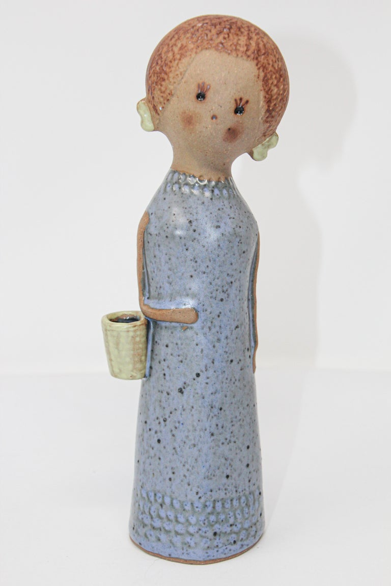 Vintage Traditional Japanese Young Woman Ceramic Sculpture For Sale 4