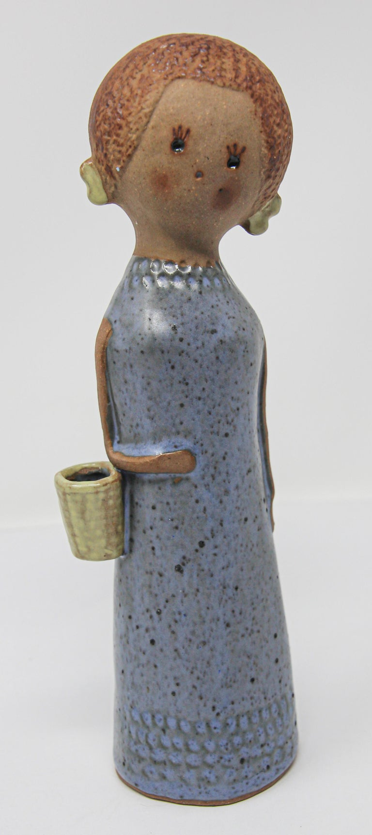 Vintage Traditional Japanese Young Woman Ceramic Sculpture For Sale 5