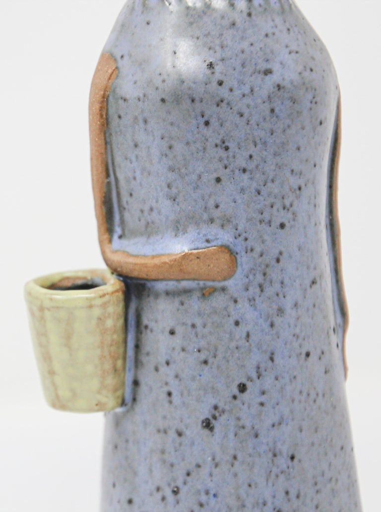 Japonisme Vintage Traditional Japanese Young Woman Ceramic Sculpture For Sale