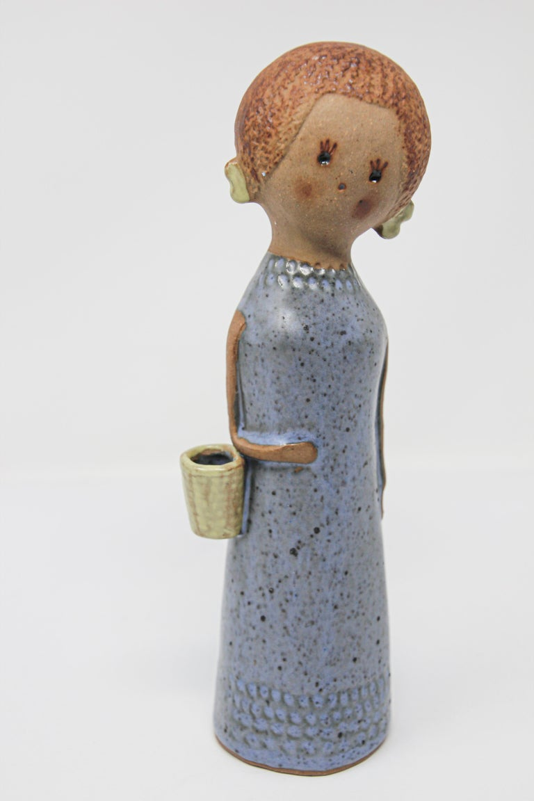 Hand-Crafted Vintage Traditional Japanese Young Woman Ceramic Sculpture For Sale