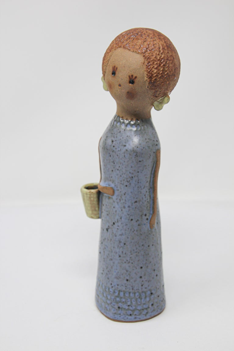 20th Century Vintage Traditional Japanese Young Woman Ceramic Sculpture For Sale