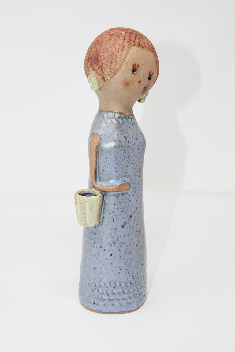 Vintage Traditional Japanese Young Woman Ceramic Sculpture For Sale 3