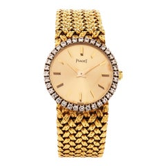 Vintage Traditional Piaget Diamond Bezel Nugget Mesh 18 Karat Ladies Watch