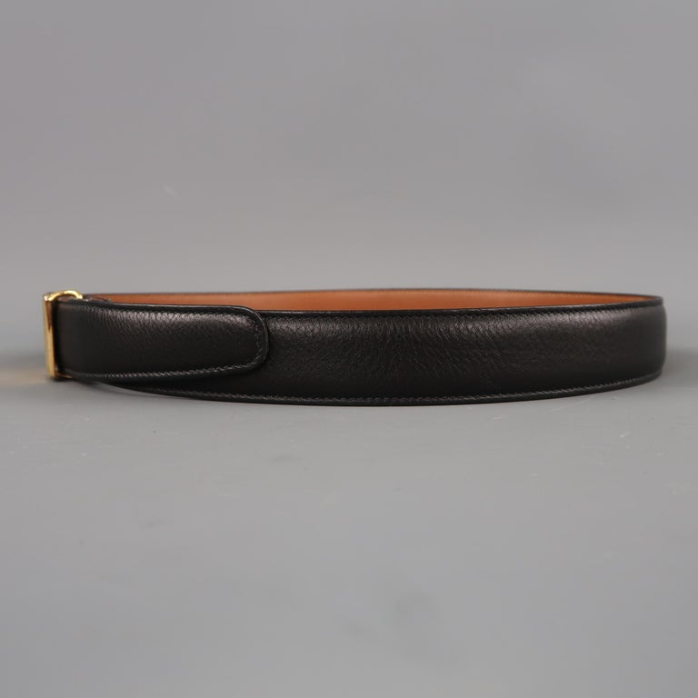Vintage TRAFALGAR Size 30 Black Leather Gold Rectangle BuckleBelt In Good Condition For Sale In San Francisco, CA