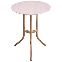 Vintage Travertine and Brass Side or Cocktail Table