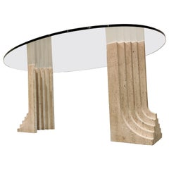 Vintage Travertine Carlo Scarpa Style Dining Table, 1970s