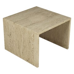 Vintage Travertine Side Table from France, 1960s