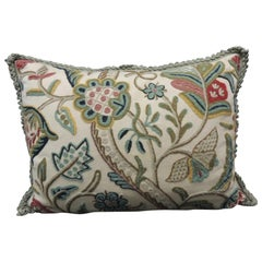 Vintage Tree of Life Crewel Work Decorative Bolster Pillow