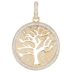 Vintage Tree of Life Diamond Pendant 14 Karat Gold Round Estate Fine Jewelry