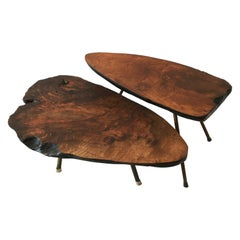 Vintage Tree Trunk Table Set of Two, Carl Auböck Style, Austria 1950s