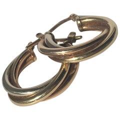 Vintage Tri-Color 9 Carat Gold Hoop Stud Earrings
