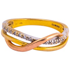 Vintage Tri Colour 9 Carat Gold and Diamond Band