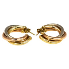 Vintage Tri-Color Gold Hoop Stud Earrings
