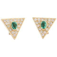 Vintage Triangle Earrings Emerald Diamond 14 Karat Gold Estate Fine Jewelry