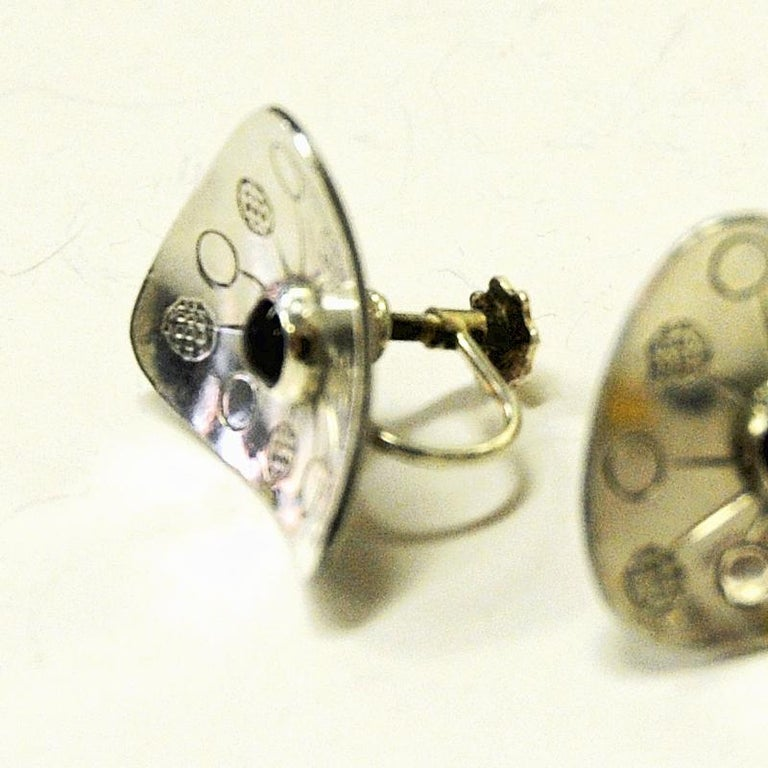 Vintage Triangle Silver Earrings by Rey Urban, Sweden, 1957 In Good Condition For Sale In Stockholm, SE