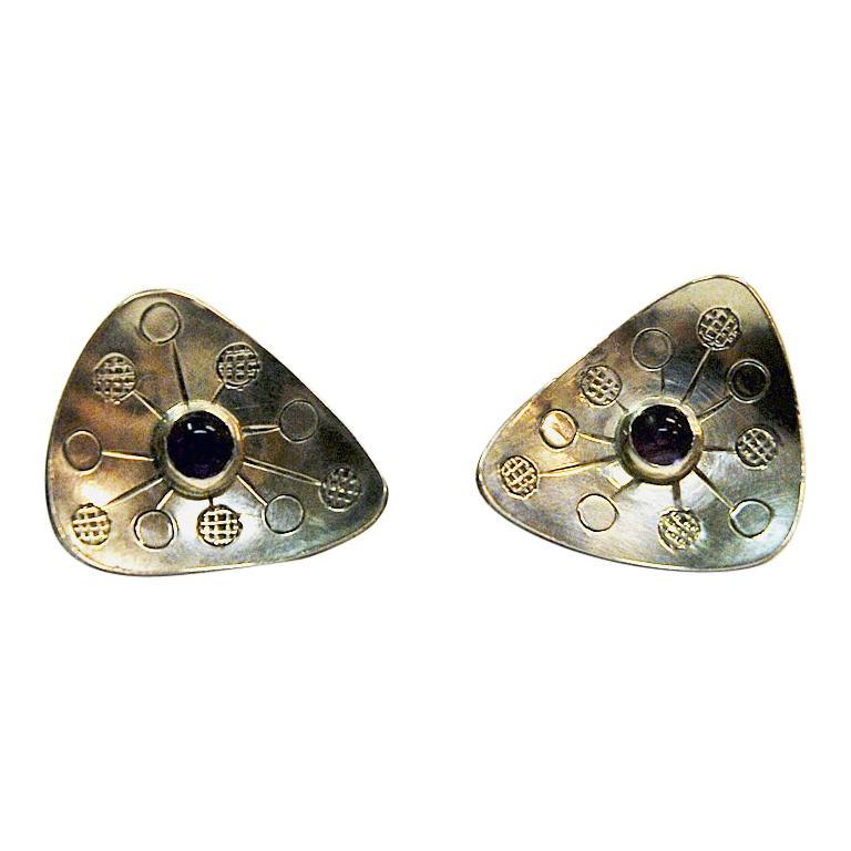 Vintage Triangle Silver Earrings by Rey Urban, Sweden, 1957 For Sale