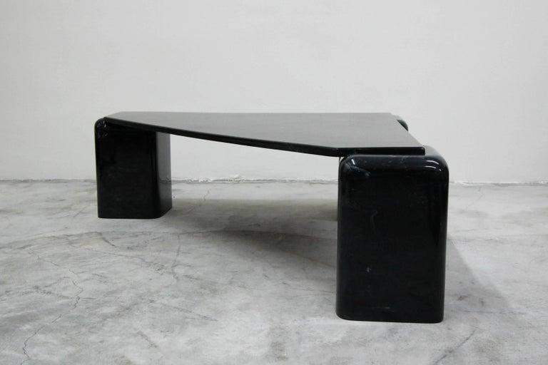 Mid-Century Modern Vintage Triangular Black Italian Marble Coffee Table