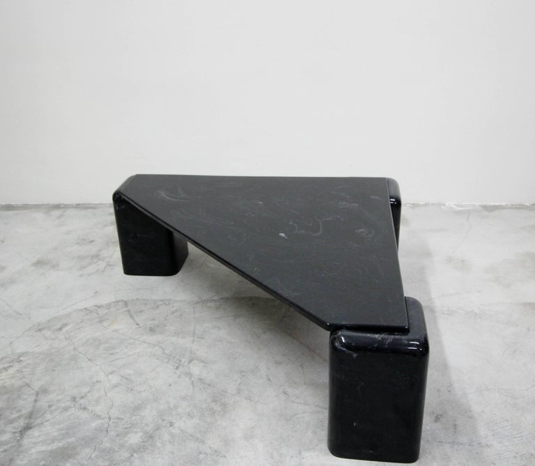 Vintage Triangular Black Italian Marble Coffee Table In Excellent Condition In Las Vegas, NV