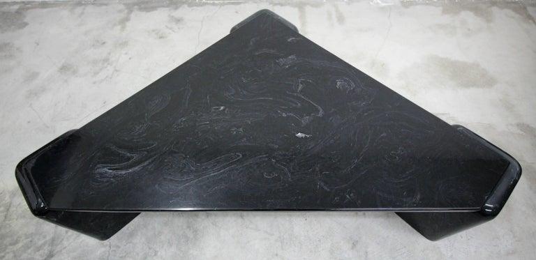 20th Century Vintage Triangular Black Italian Marble Coffee Table