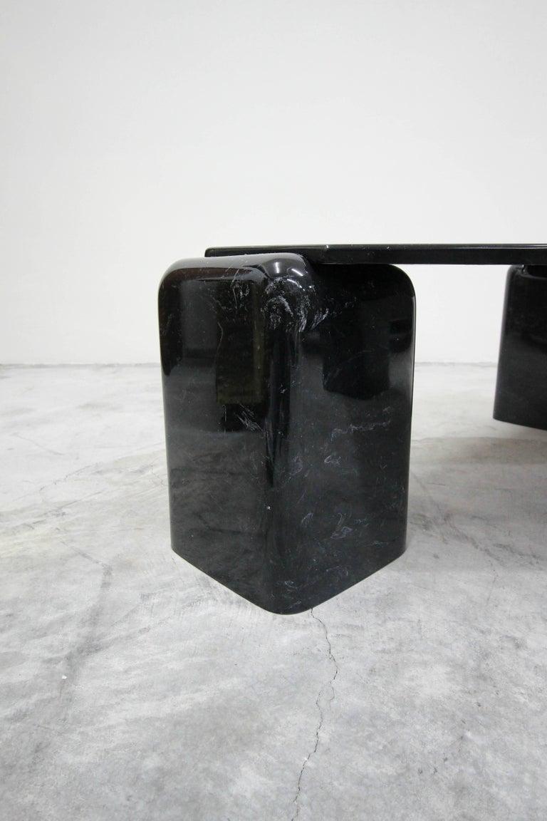 Vintage Triangular Black Italian Marble Coffee Table 2