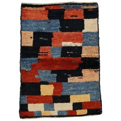 Vintage Tribal Abstract Checkerboard Design Rug